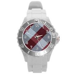 Textile Geometric Retro Pattern Round Plastic Sport Watch (L)
