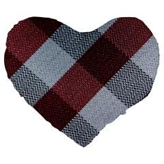 Textile Geometric Retro Pattern Large 19  Premium Heart Shape Cushions