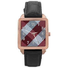 Textile Geometric Retro Pattern Rose Gold Leather Watch