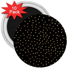 Grunge Retro Pattern Black Triangles 3  Magnets (10 pack)