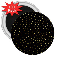 Grunge Retro Pattern Black Triangles 3  Magnets (100 Pack)
