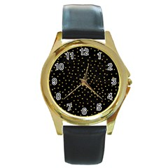 Grunge Retro Pattern Black Triangles Round Gold Metal Watch