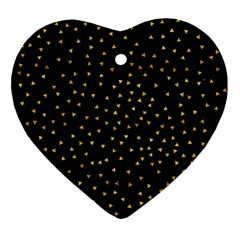Grunge Retro Pattern Black Triangles Heart Ornament (Two Sides)