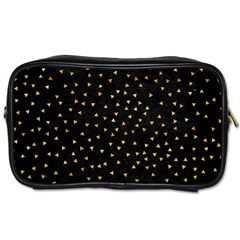 Grunge Retro Pattern Black Triangles Toiletries Bags 2 Side