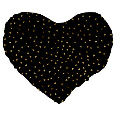 Grunge Retro Pattern Black Triangles Large 19  Premium Flano Heart Shape Cushions