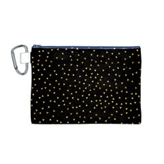 Grunge Retro Pattern Black Triangles Canvas Cosmetic Bag (M)