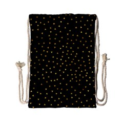 Grunge Retro Pattern Black Triangles Drawstring Bag (small)