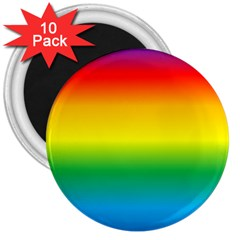 Rainbow Background Colourful 3  Magnets (10 pack)