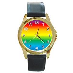 Rainbow Background Colourful Round Gold Metal Watch
