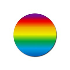 Rainbow Background Colourful Rubber Round Coaster (4 pack)