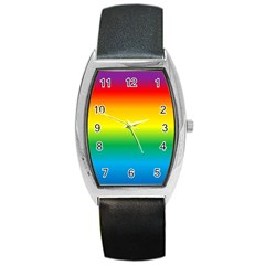 Rainbow Background Colourful Barrel Style Metal Watch