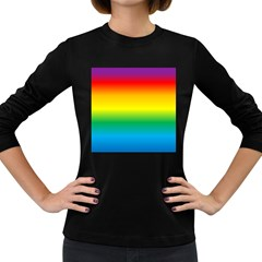 Rainbow Background Colourful Women s Long Sleeve Dark T-Shirts