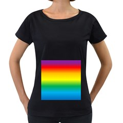 Rainbow Background Colourful Women s Loose-Fit T-Shirt (Black)