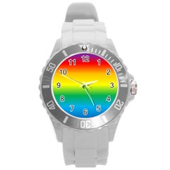 Rainbow Background Colourful Round Plastic Sport Watch (L)
