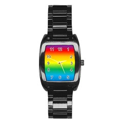 Rainbow Background Colourful Stainless Steel Barrel Watch