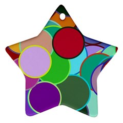Dots Circles Colorful Unique Ornament (star)