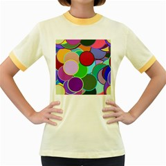 Dots Circles Colorful Unique Women s Fitted Ringer T Shirts