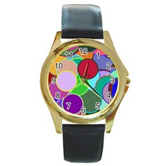 Dots Circles Colorful Unique Round Gold Metal Watch