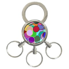 Dots Circles Colorful Unique 3 Ring Key Chains