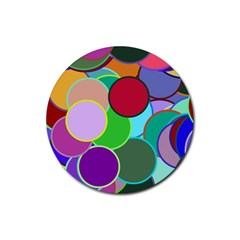 Dots Circles Colorful Unique Rubber Coaster (Round)