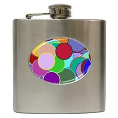 Dots Circles Colorful Unique Hip Flask (6 oz)