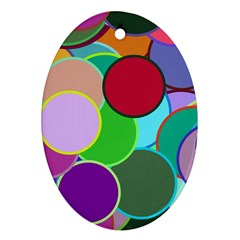 Dots Circles Colorful Unique Oval Ornament (Two Sides)