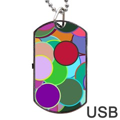 Dots Circles Colorful Unique Dog Tag USB Flash (Two Sides)