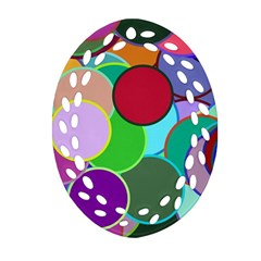 Dots Circles Colorful Unique Oval Filigree Ornament (Two Sides)