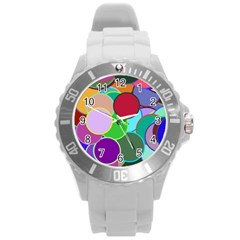 Dots Circles Colorful Unique Round Plastic Sport Watch (l)