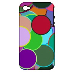 Dots Circles Colorful Unique Apple iPhone 4/4S Hardshell Case (PC+Silicone)