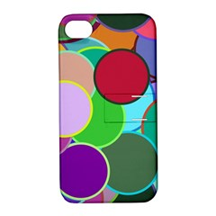 Dots Circles Colorful Unique Apple iPhone 4/4S Hardshell Case with Stand