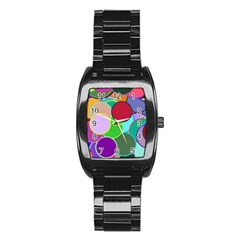 Dots Circles Colorful Unique Stainless Steel Barrel Watch