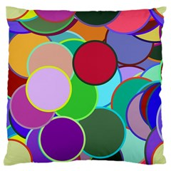 Dots Circles Colorful Unique Large Flano Cushion Case (Two Sides)