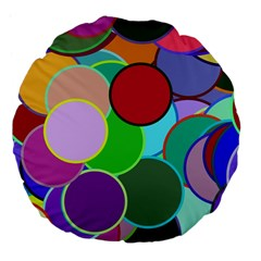 Dots Circles Colorful Unique Large 18  Premium Flano Round Cushions