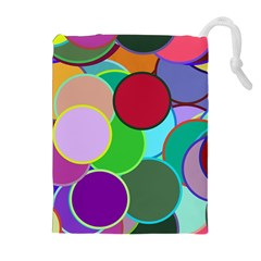 Dots Circles Colorful Unique Drawstring Pouches (extra Large)