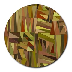 Earth Tones Geometric Shapes Unique Round Mousepads