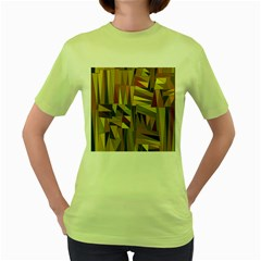 Earth Tones Geometric Shapes Unique Women s Green T Shirt