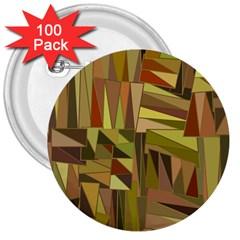 Earth Tones Geometric Shapes Unique 3  Buttons (100 Pack)