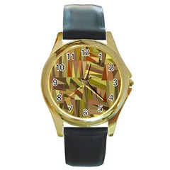 Earth Tones Geometric Shapes Unique Round Gold Metal Watch