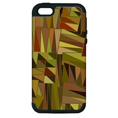 Earth Tones Geometric Shapes Unique Apple iPhone 5 Hardshell Case (PC+Silicone)