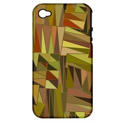 Earth Tones Geometric Shapes Unique Apple iPhone 4/4S Hardshell Case (PC+Silicone)