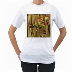 Earth Tones Geometric Shapes Unique Women s T Shirt (white)