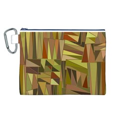 Earth Tones Geometric Shapes Unique Canvas Cosmetic Bag (L)
