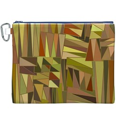 Earth Tones Geometric Shapes Unique Canvas Cosmetic Bag (XXXL)