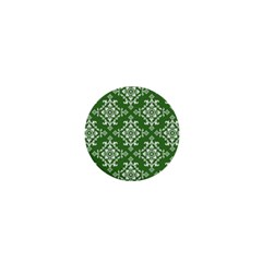 St Patrick S Day Damask Vintage Green Background Pattern 1  Mini Buttons