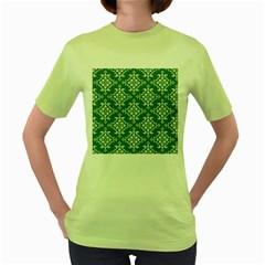St Patrick S Day Damask Vintage Green Background Pattern Women s Green T-Shirt