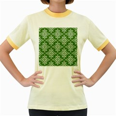 St Patrick S Day Damask Vintage Green Background Pattern Women s Fitted Ringer T-Shirts