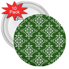 St Patrick S Day Damask Vintage Green Background Pattern 3  Buttons (10 Pack)