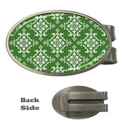 St Patrick S Day Damask Vintage Green Background Pattern Money Clips (Oval)