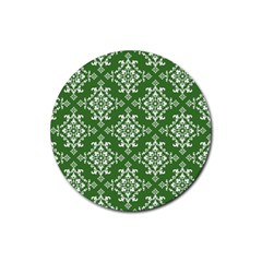St Patrick S Day Damask Vintage Green Background Pattern Rubber Round Coaster (4 Pack)